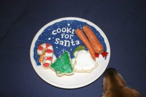 cookies and hot dogs for Santa